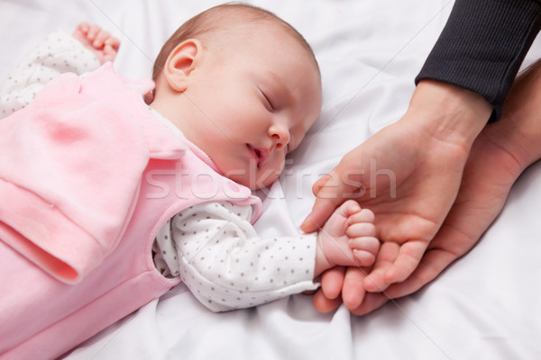 Сток-фото: мало · ребенка · спальный · кровать · стороны · лице