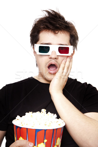 Funny men in stereo glasses with popcorn.  Stock photo © Massonforstock