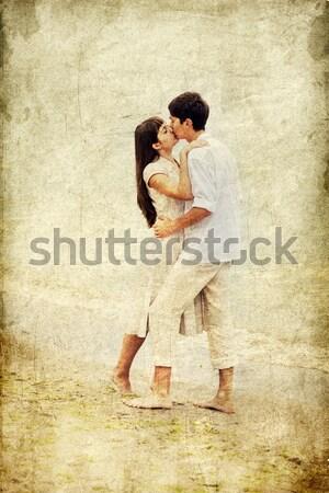 Pár csók tengerpart fotó öreg retró stílus Stock fotó © Massonforstock
