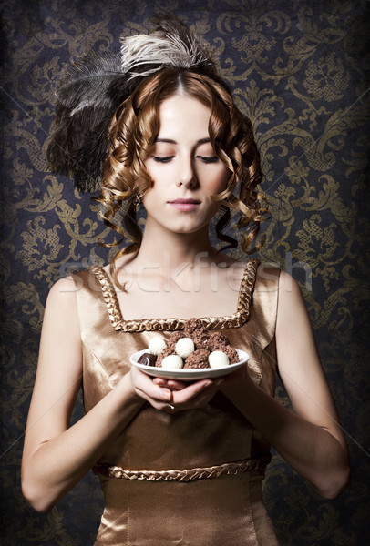 Empire girl with candy. Stock photo © Massonforstock