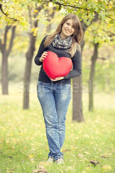 Stock fotó: Vörös · hajú · nő · lány · játék · szív · ősz · park