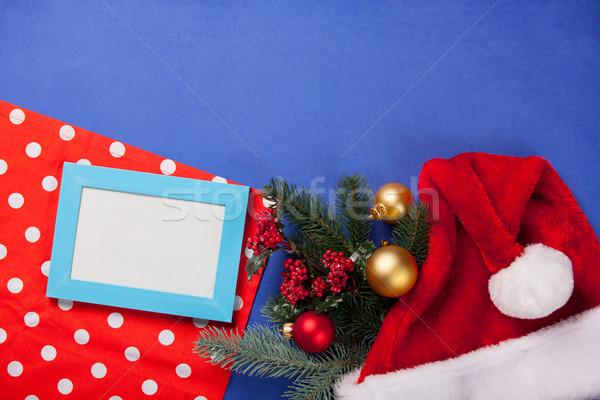フォトフレーム 贈り物 クリスマス 青 ツリー レトロな ストックフォト © Massonforstock