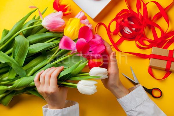 Branco caucasiano feminino mãos colorido Foto stock © Massonforstock