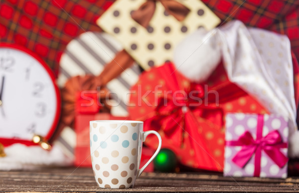 Fotó pontozott csésze kávé csodálatos karácsony Stock fotó © Massonforstock