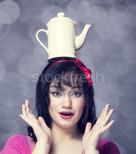 Brunette femmes théière tête femme fille Photo stock © Massonforstock