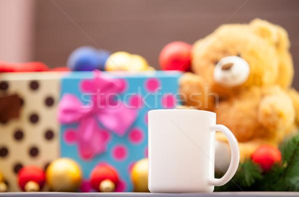 Сток-фото: Кубок · Рождества · подарки · чай · кофе · древесины