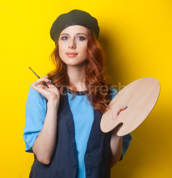 girl with palette and brush Stock photo © Massonforstock