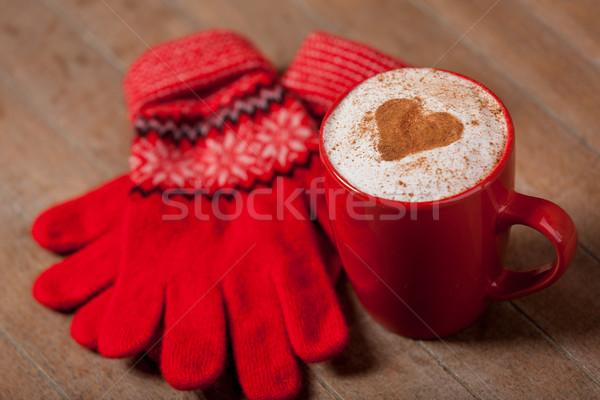 фото Кубок кофе перчатки замечательный Сток-фото © Massonforstock