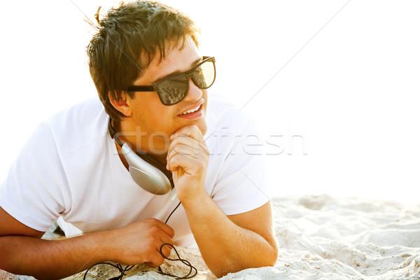 Foto stock: Engraçado · homens · óculos · de · sol · pôr · do · sol · luz · verão