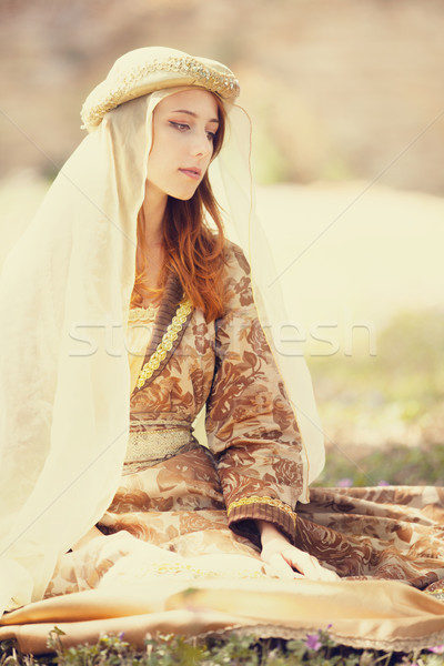 Madieval lady at outdoor. Stock photo © Massonforstock