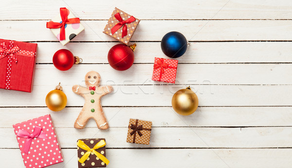 Stock photo: Gingerbread cookie and gifts