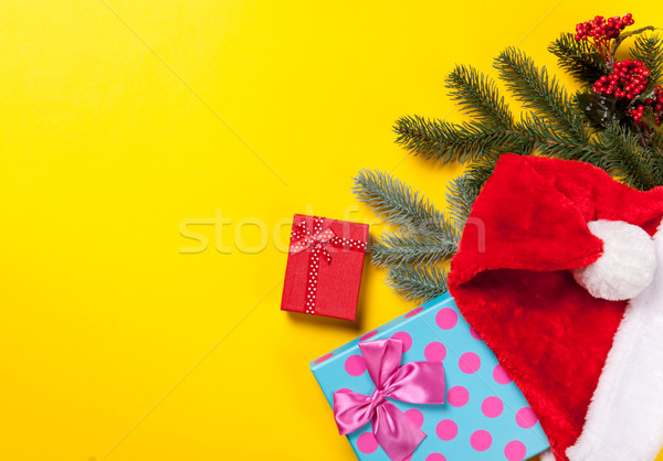 Сток-фото: Дед · Мороз · Hat · подарки · желтый · красный · настоящее