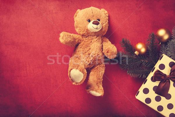 Oyuncak ayı Noel hediyeler kırmızı oyuncak renk Stok fotoğraf © Massonforstock