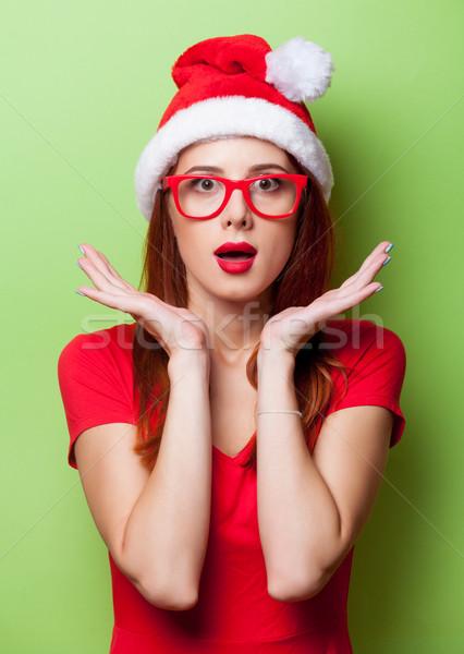 şaşırmış kadın Noel şapka portre gri Stok fotoğraf © Massonforstock