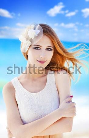 小さな 花嫁 ビーチ 女性 少女 笑顔 ストックフォト © Massonforstock