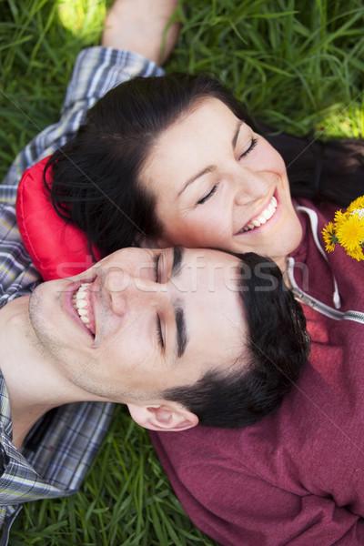 Photo stock: Couple · détente · herbe · verte · vert · femme · famille