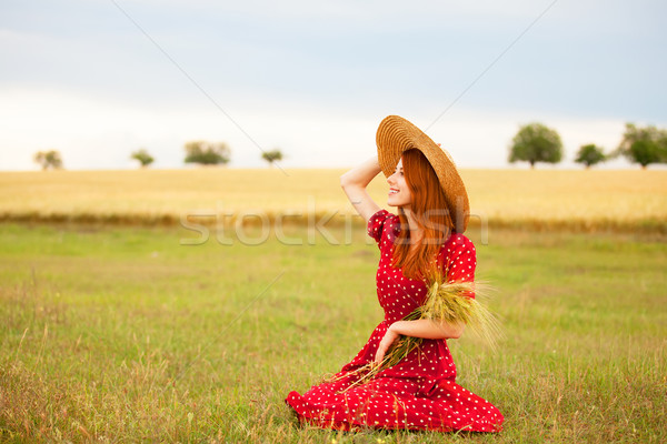 Redhead girl in red dress at wheat field Stock photo © Massonforstock