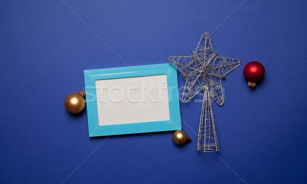 Fényképkeret karácsony játék kék keret csillag Stock fotó © Massonforstock