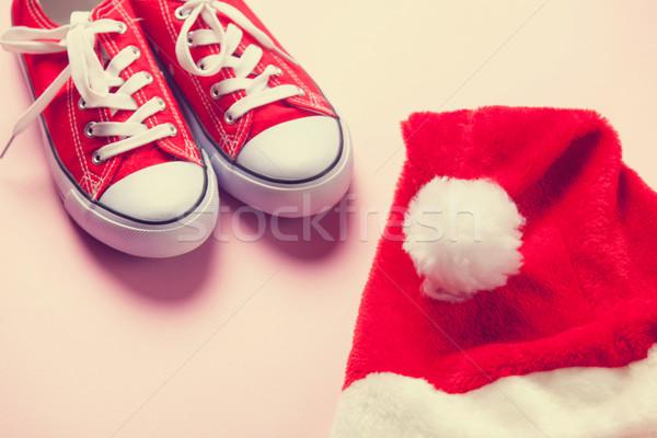Foto stock: Seis · vermelho · natal · rosa · férias