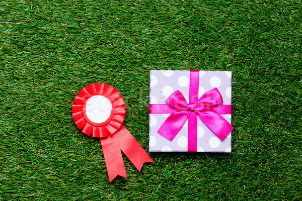Red reward and gift box on green grass background,  Stock photo © Massonforstock