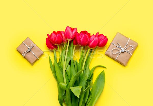 Stock fotó: Köteg · piros · tulipánok · gyönyörű · ajándékok · csodálatos