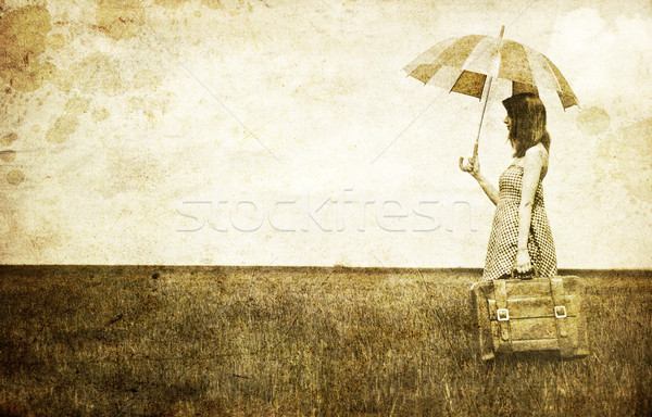 Stockfoto: Paraplu · koffer · voorjaar · tarwe