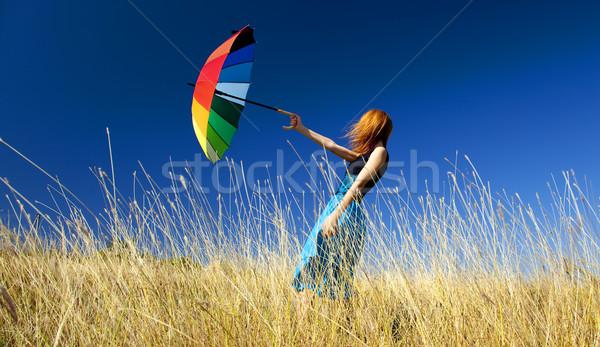 赤毛 少女 傘 風の強い 草 草原 ストックフォト © Massonforstock