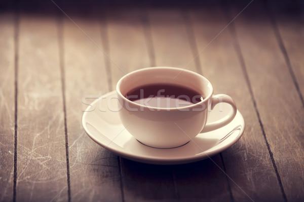 Beker thee vintage kleur stijl hout Stockfoto © Massonforstock