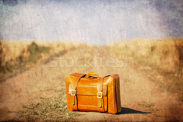 Old suitcase at country side road.  Stock photo © Massonforstock