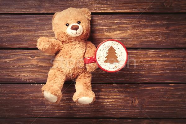 Cappuccino Nounours jouet tasse bois café Photo stock © Massonforstock