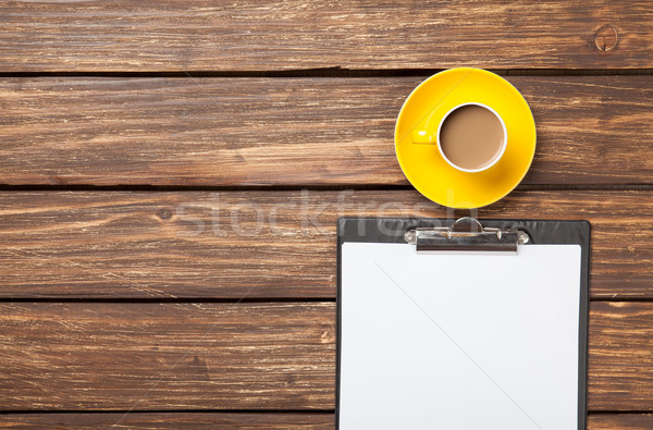 Cup of coffee latte and business tablet Stock photo © Massonforstock