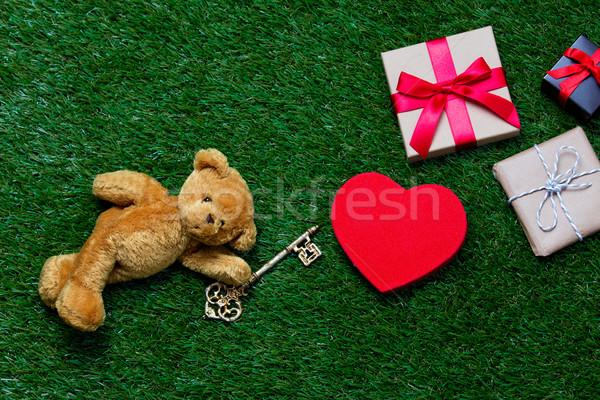 Hediyeler oyuncak oyuncak ayı anahtar sevimli küçük Stok fotoğraf © Massonforstock