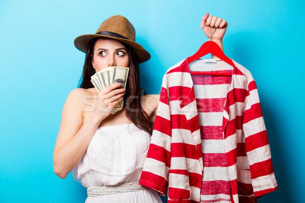 Schönen gestreift Jacke Kleiderbügel Geld Stock foto © Massonforstock