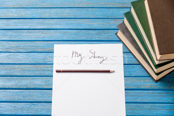 photo of pencil, books and paper with My Story words near gumsho Stock photo © Massonforstock