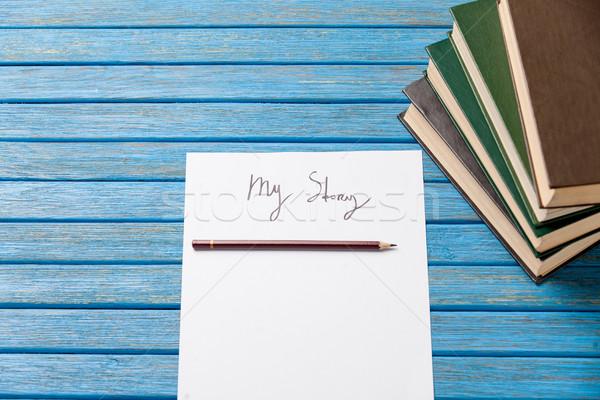 Fotó ceruza könyvek papír enyém történet Stock fotó © Massonforstock