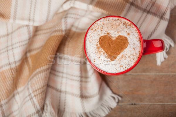 写真 カップ コーヒー テーブルクロス 素晴らしい ブラウン ストックフォト © Massonforstock