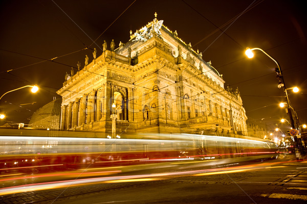 National Theater in the night with trams Stock photo © Massonforstock