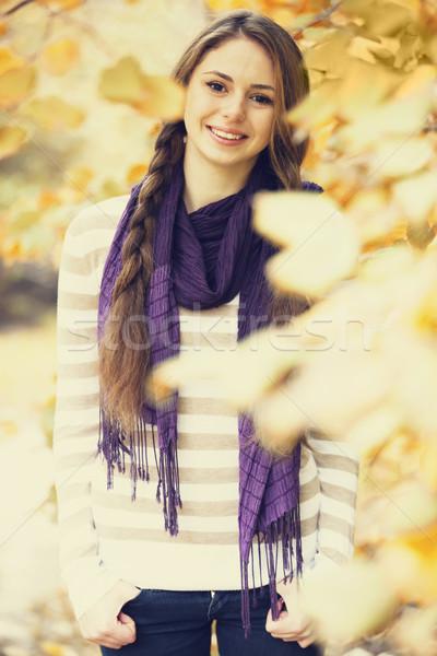 美少女 秋 公園 手 ファッション 自然 ストックフォト © Massonforstock