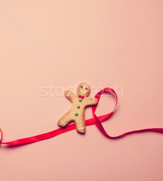 Gingerbread man şerit pembe sevmek kırmızı renk Stok fotoğraf © Massonforstock