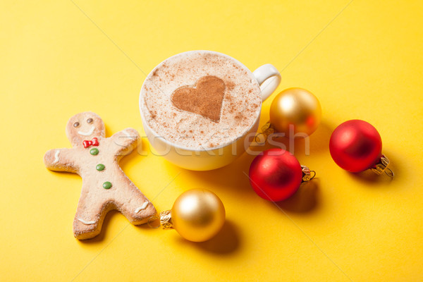 coffee and gingerbread with christmas bubbles  Stock photo © Massonforstock