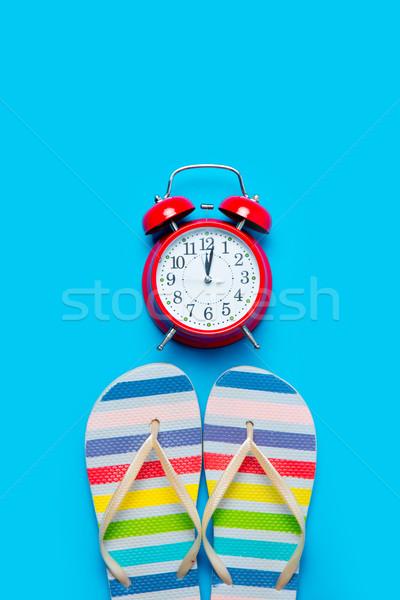 Színes szandál gyönyörű ébresztőóra csodálatos kék Stock fotó © Massonforstock