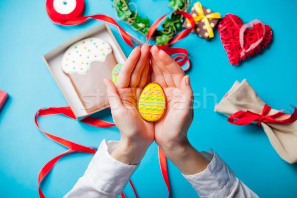 Stok fotoğraf: Beyaz · kafkas · kadın · eller · yumurta