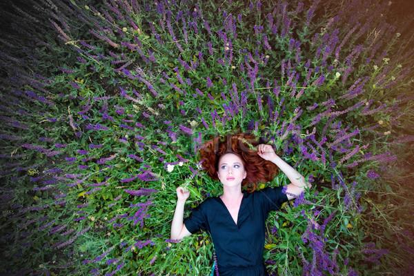 Güzel genç kadın rahatlatıcı harika Stok fotoğraf © Massonforstock