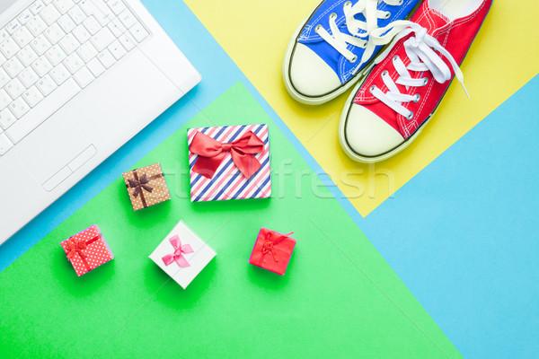 Cute regali argento laptop meraviglioso colorato Foto d'archivio © Massonforstock