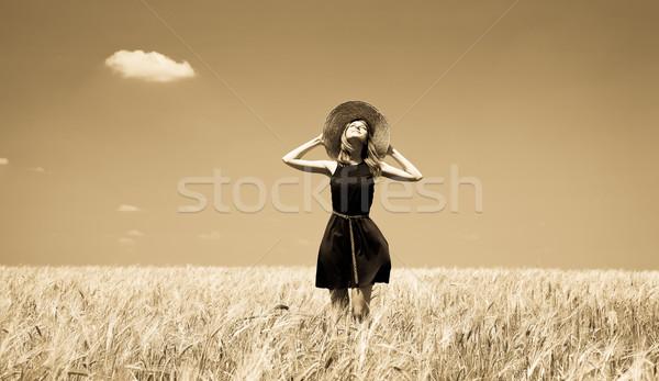 Lány nyár búzamező fotó öreg citromsárga Stock fotó © Massonforstock