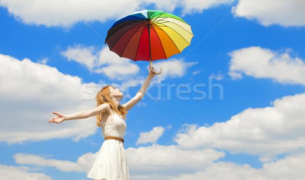 Menina guarda-chuva céu nuvens beleza verão Foto stock © Massonforstock