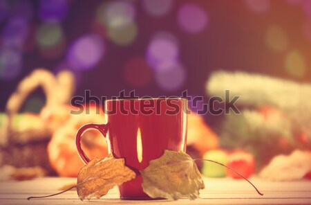 Cup of coffee or tea with leafs Stock photo © Massonforstock