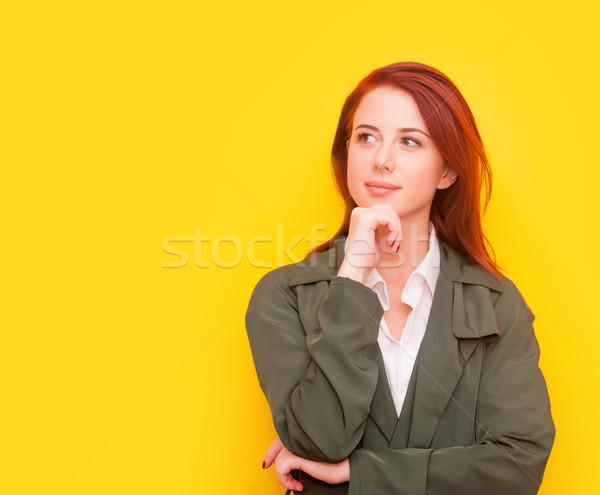 Kadın sarı portre gülen mutlu Stok fotoğraf © Massonforstock