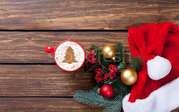 Cappucchino ajándékok csésze karácsonyfa forma fából készült Stock fotó © Massonforstock