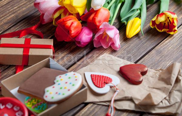 Flowers and Easter eggs Stock photo © Massonforstock
